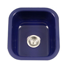 "Hamat CeraSteel 15-5/8"" x 17-5/16"" Undermount Enamel Steel Single Bowl Kitchen Sink in Navy Blue"