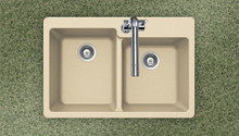 "Hamat SiOStone 33"" W x 22"" L Quartztone Topmount Composite Granite Double Bowl Kitchen Sink - Sand"