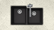 "Hamat SiOStone 33"" W x 20.5"" L x 9.5"" D Quartztone Undermount Composite Granite Double Bowl Kitchen Sink - Midnite"