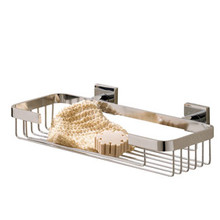 Valsan Braga Square Base Wal Mount Medium Soap & Sponge Basket - Polished Nickel