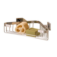 Valsan Braga Corner Wall Mounted Soap & Sponge Basket - Polished Nickel