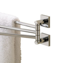 Valsan Braga Square Base Adjustable Triple Swivel ArmTowel Bar - Polished Nickel
