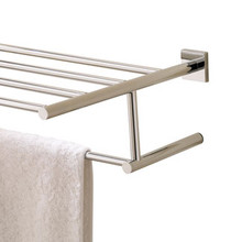 Valsan Braga Square Base Towel Shelf & Bar / Rack - Polished Nickel