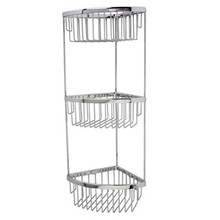 "Valsan Classic Three Tier Corner Soap Basket 6"" X 6"" X 21 1/4"" - Chrome"