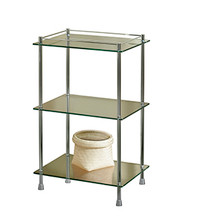 "Valsan Essentials Freestanding Three Tier Glass Shelf Unit with Feet 29 1/2"" X 18 X 11"" - Satin Nickel"