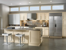 Kraftmaid Kitchen Cabinets - Square Recessed Panel - Veneer (SNM) Maple in Biscotti