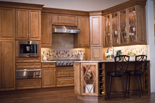 Kraftmaid Kitchen Cabinets - Square Raised Panel - Solid (LCM) Maple in Praline