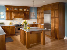 Kraftmaid Kitchen Cabinets - Square Recessed Panel - Veneer (GCS) Cherry in Sunset