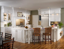 Kraftmaid Kitchen Cabinets - Square Raised Panel - Solid (BLM) Maple in Dove White