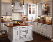 Kraftmaid  Kitchen Cabinets - Square Recessed Panel - Solid (AB3M) Maple in Dove White