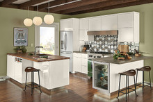 Kraftmaid  Kitchen Cabinets - Slab-Veneer AG7L-2 High Gloss Foil in Dove White