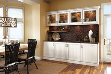 Kraftmaid Kitchen / Prep  / Dining Room Cabinets -  Square V - groove - Solid (AB0C) Cherry in Vintage Dove White