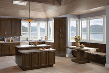 Kraftmaid Kitchen Cabinets -  Square Recessed Panel - Veneer (AC8O) Oak in Saddle