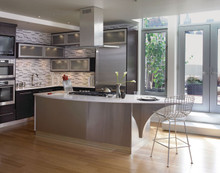 Kraftmaid Kitchen Cabinets -  Slab - Solid (AW) Cherry in Peppercorn