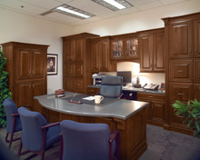 Kraftmaid Office Furniture Cabinets -  Square Raised Panel - Solid (BLC-2) Cherry in Chocolate w/Ebony Glaze