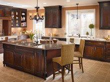 Kraftmaid Kitchen Cabinets -  Square Raised Panel - Solid (CRC) Cherry in Ginger w/Sable Glaze