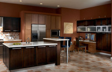 Kraftmaid Kitchen Cabinets -  Square Recessed Panel - Veneer (MRO) Quartersawn Oak in Peppercorn