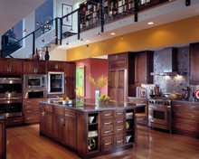 Kraftmaid Kitchen Cabinets -  Square Raised Panel - Solid (PVC) Cherry in Cognac