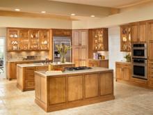 Kraftmaid Kitchen Cabinets -  Square Raised Panel - Solid (PVM) Maple in Biscotti w/Cocoa Glaze