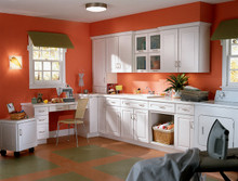 Kraftmaid Kitchen Cabinets -  Square Recessed Panel - Veneer (SNC) Cherry in Sunset