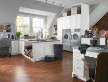 Kraftmaid Craft & Laundry Room Cabinets - Square Recessed Panel - Thermofoil (WP) Thermofoil in White