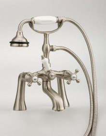 Cheviot  5106-BN Rim Mount Tub Filler Faucet With Hand Shower & Cross Handles  - Brushed Nickel