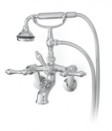 Cheviot  5115-PN-LEV Cross Handle Tub Filler Faucet with Diverter With Hand Shower  - Polished Nickel