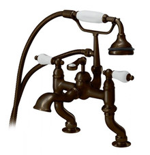 Cheviot  6012-AB Adjustable Pillar Two Handle Deck Mount Tub Filler Faucet with Handshower  - Antique Bronze