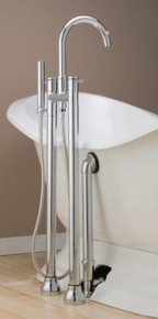 Cheviot  7565-BN Contemporary Free Standing Tub Filler Faucet With Hand Shower & Water Supplies  - Brushed Nickel