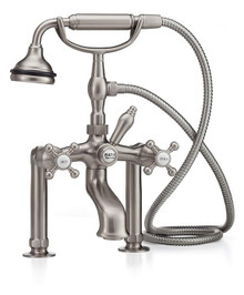 Cheviot  5115/3970-PN Cross Handle Tub Filler Faucet & Hand Shower With Free Standing Water Supply Lines w Stop Valves  - Polished Nickel