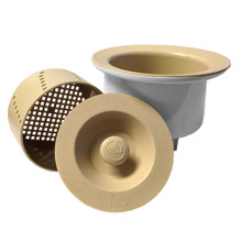 """Opella 90077 Deep 3 1/2"""" Basket Strainer with Water Tight Lid - Biscotto"""