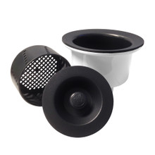 """Opella 90077 Deep 3 1/2"""" Basket Strainer with Water Tight Lid - Carbon / Black"""