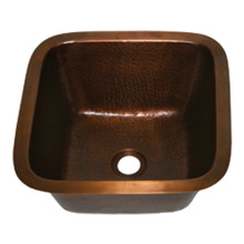"Opella 13137 Hammered Copper Bar Sink 15-5/8"" x 15-5/8"" x 7"""