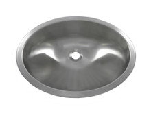 "Opella 17186.046 Round Lavatory Sink 19"" x 15"" Undermount or Top Mount - Brushed Stainless"