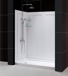 DreamLine  DL-6190L-01 SlimLine 32 in. by 60 in. Single Threshold Shower Base Left Hand Drain and QWALL-5 Shower Backwall Kit