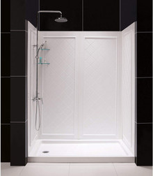 DreamLine  DL-6190R-01 SlimLine 32 in. by 60 in. Single Threshold Shower Base Right Hand Drain and QWALL-5 Shower Backwall Kit