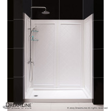 DreamLine  DL-6191L-01 SlimLine 34 in. by 60 in. Single Threshold Shower Base Left Hand Drain and QWALL-5 Shower Backwall Kit