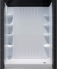 DreamLine  DL-6145R-01 SlimLine 30 in. by 60 in. Single Threshold Shower Base Right Hand Drain and QWALL-3 Shower Backwall Kit