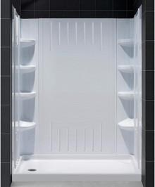 DreamLine  DL-6147L-01 SlimLine 34 in. by 60 in. Single Threshold Shower Base Left Hand Drain and QWALL-3 Shower Backwall Kit