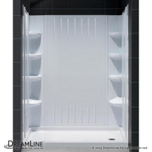 DreamLine  DL-6147R-01 SlimLine 34 in. by 60 in. Single Threshold Shower Base Right Hand Drain and QWALL-3 Shower Backwall Kit