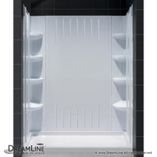 DreamLine  DL-6148L-01 SlimLine 36 in. by 60 in. Single Threshold Shower Base Left Hand Drain and QWALL-3 Shower Backwall Kit
