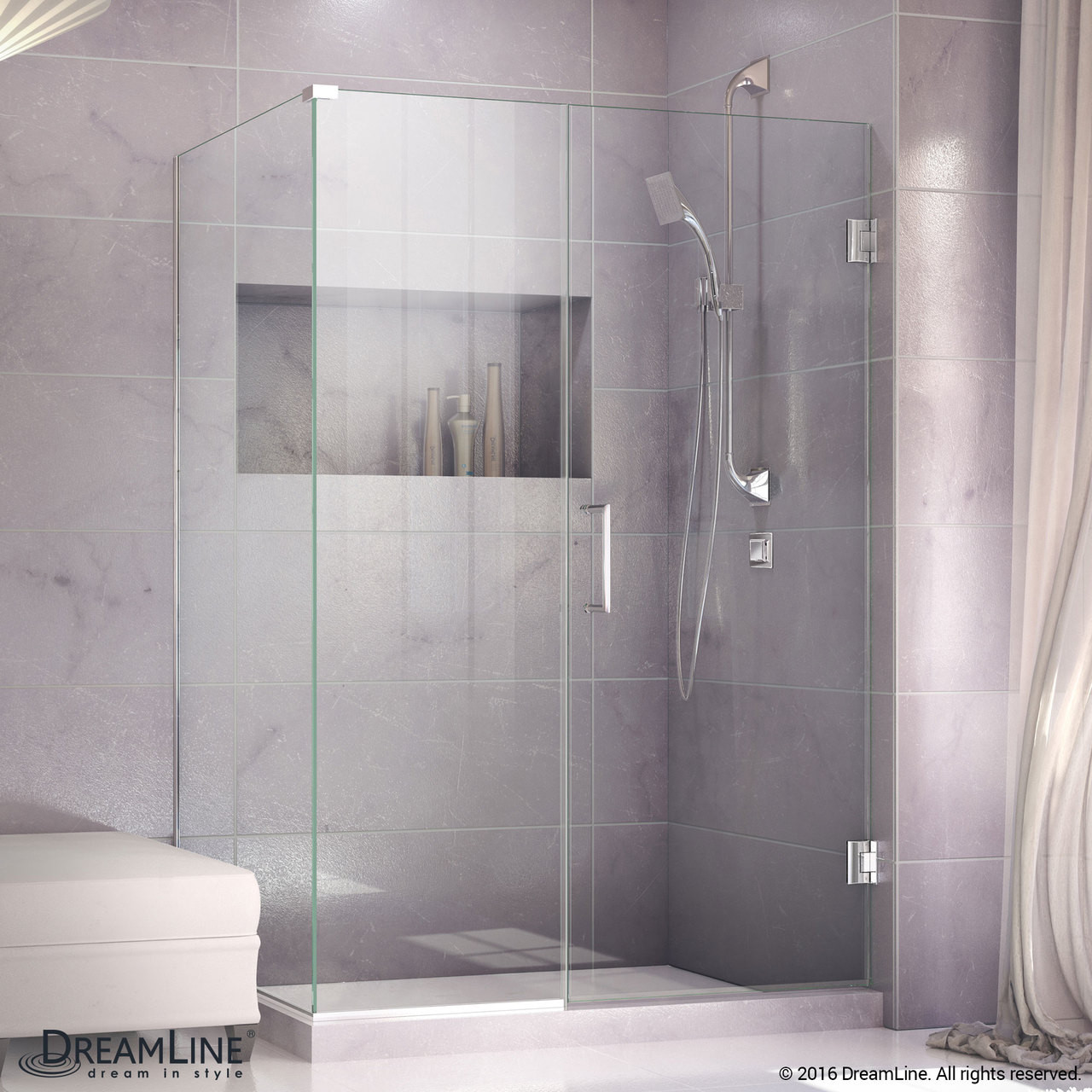 Dreamline Shen 24435340 01 Unidoor Plus 43 1 2 In W X 34 3 8 In D X 72 In H Hinged Shower Enclosure Chrome Hardware