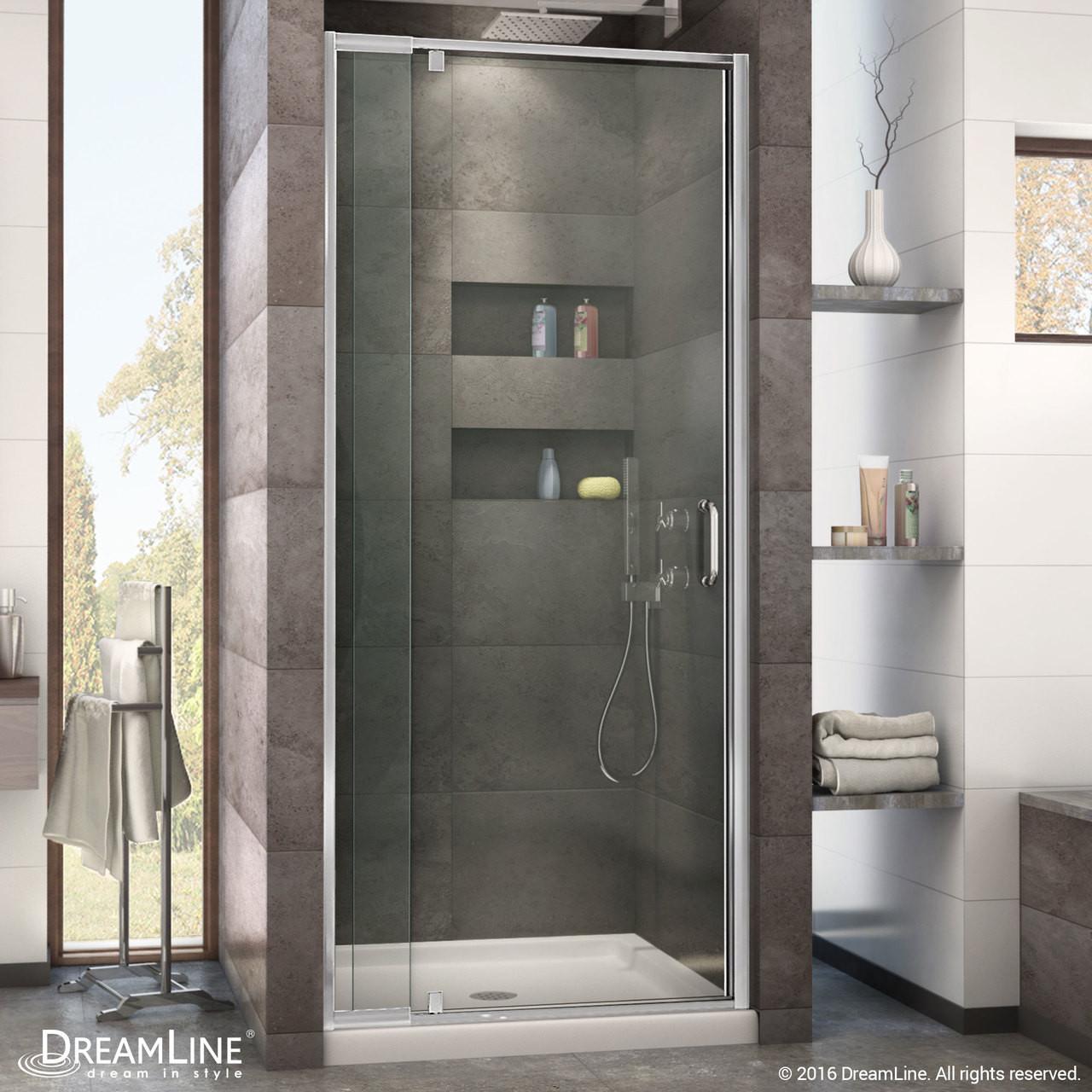 Dreamline Dl 6216c 01cl Flex 36 In W X 36 In D X 74 3 4 In H Frameless Shower Door And Base Kit Chrome Hardware