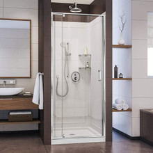 DreamLine  DL-6217C-01CL Flex 32-in. W x 32-in. D x 76-3/4-in. H Frameless Shower Door, Backwall and Base Kit, Chrome Hardware