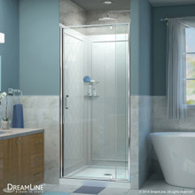 DreamLine  DL-6218C-01CL Flex 36-in. W x 36-in. D x 76-3/4-in. H Frameless Shower Door, Backwall and Base Kit, Chrome Hardware