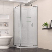 DreamLine  DL-6716-01CL Flex 32-in. W x 32-in. D x 76-3/4-in. H Frameless Shower Enclosure, Backwall and Base Kit, Chrome Hardware