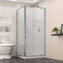 DreamLine  DL-6717-01CL Flex 36-in. W x 36-in. D x 76-3/4-in. H Frameless Shower Enclosure, Backwall and Base Kit, Chrome Hardware