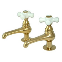 Kingston Brass Two Handle with Two Spouts Basin Lavatory Faucet - Polished Brass KS3202PX