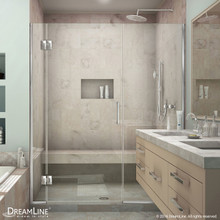 DreamLine  D12530572-01 Unidoor-X 61 1/2 - 62 in. W x 72 in. H Hinged Shower Door in Chrome Finish