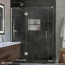 DreamLine  E3280634L-01 Unidoor-X 58 in. W x 34.375 in. D x 72 in. H Hinged Shower Enclosure in Chrome Finish; Left-wall Bracket